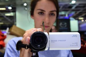 A quadproof camcorder is presented at the booth of JVC at the IFA (Internationale Funkausstellung) electronics trade fair in Berlin on September 1, 2016. The IFA is considered the worldwide biggest leading fair for entertainment electronics, IT and household appliances and opens its doors from September 2 till 7. / AFP / TOBIAS SCHWARZ