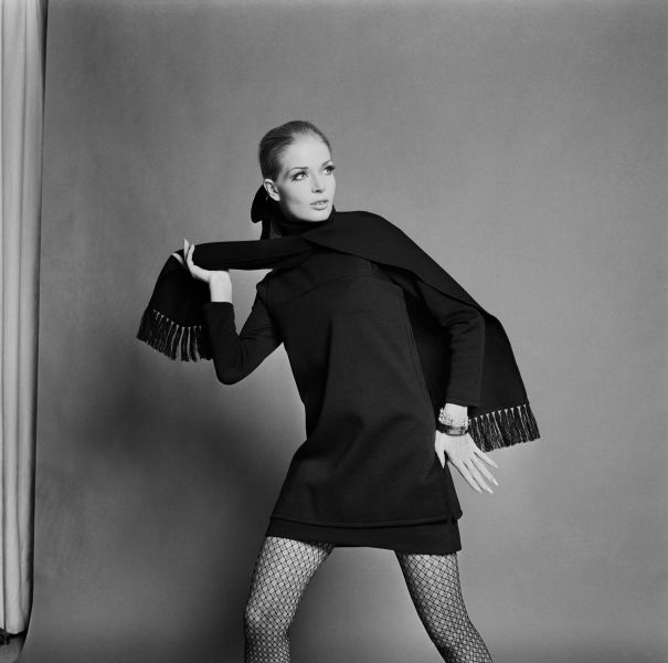 A model from 1967 in fishnet tights.