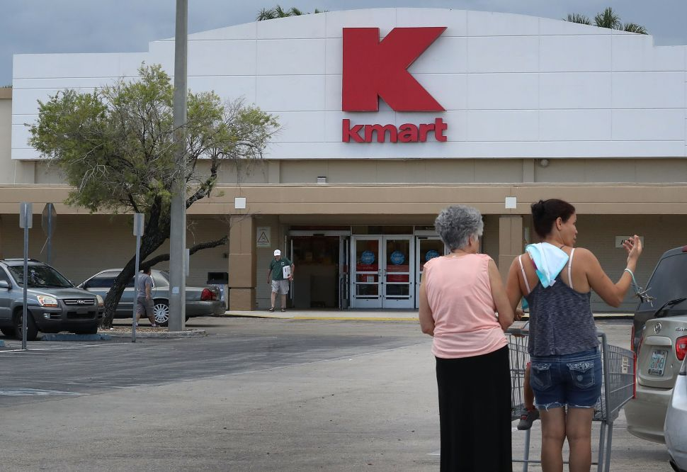 MIAMI, FL - SEPTEMBER 22: A Kmart store is seen on September 22, 2016 in Miami, Florida. Kmart, now a part of Sears holdings, according to reports is closing 64 stores around the country in December.