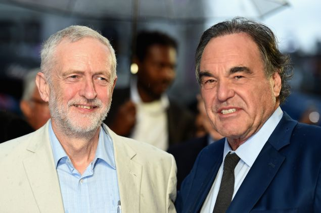 Leader of the Labour Party and Leader of the Opposition Jeremy Corbyn and Director Oliver Stone.