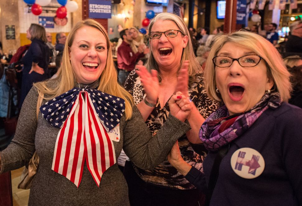 LONDON, ENGLAND - NOVEMBER 08: American Democratic Party supporters react to results of Hillary Clinton winning two states at the Democrats Abroad election night party at Marylebone Sports Bar and Grill on November 9, 2016 in London, England. Americans go to the polls today to choose between Republican Donald Trump and Democrat Hillary Clinton for president.