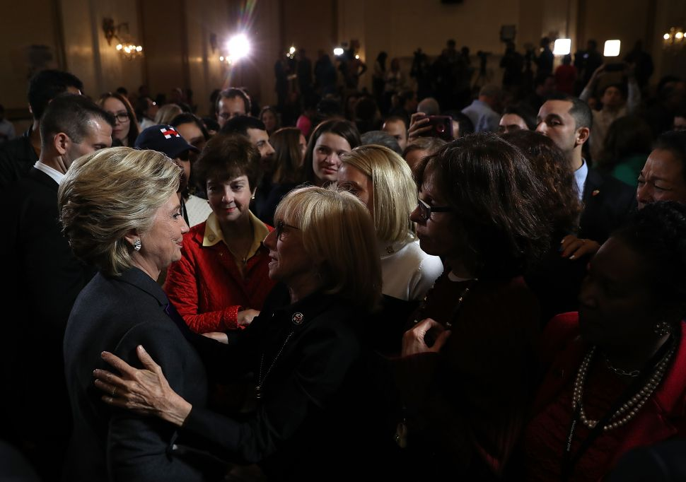 Former Secretary of State Hillary Clinton greets supporters and members of her staff after conceding the U.S. Presidency to Republican challenger Donald Trump.