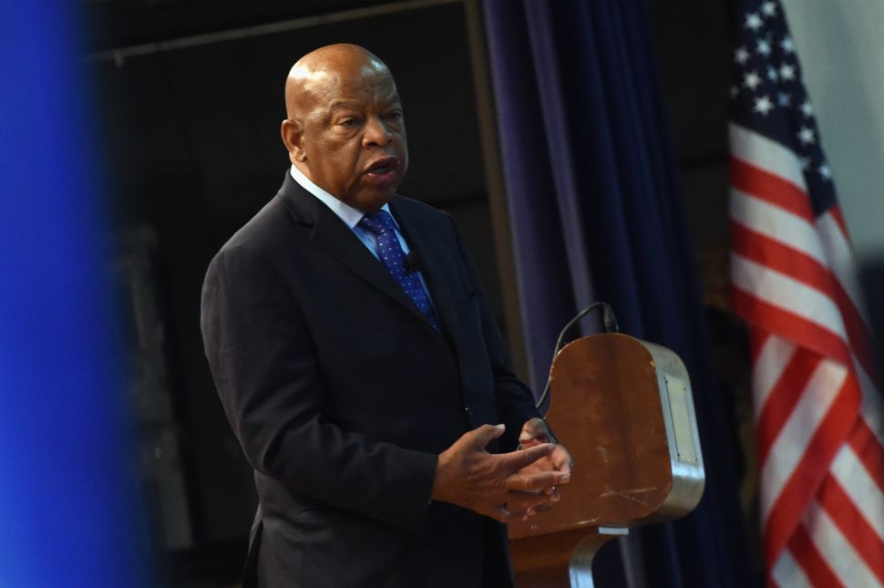 NASHVILLE, TN - NOVEMBER 19: Congressman John Lewis chats with addresses audience attending Nashville Public Library Award to Civil Rights Icon Congressman John Lewis - Literary Award on November 19, 2016 in Nashville, Tennessee.