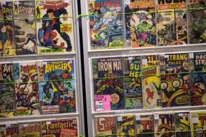 Collectable comic books are displayed for sale at the 'For the Love of Sci-fi' convention, in Manchester, north west England on December 4, 2016. The independent fan convention features actors, merchandise and live music alongside numerous recreated props and sets from science fiction films such as: Transformers, Judge Dredd, Jurassic Park, E.T. and Star Wars. / AFP / OLI SCARFF (Photo credit should read OLI SCARFF/AFP/Getty Images)