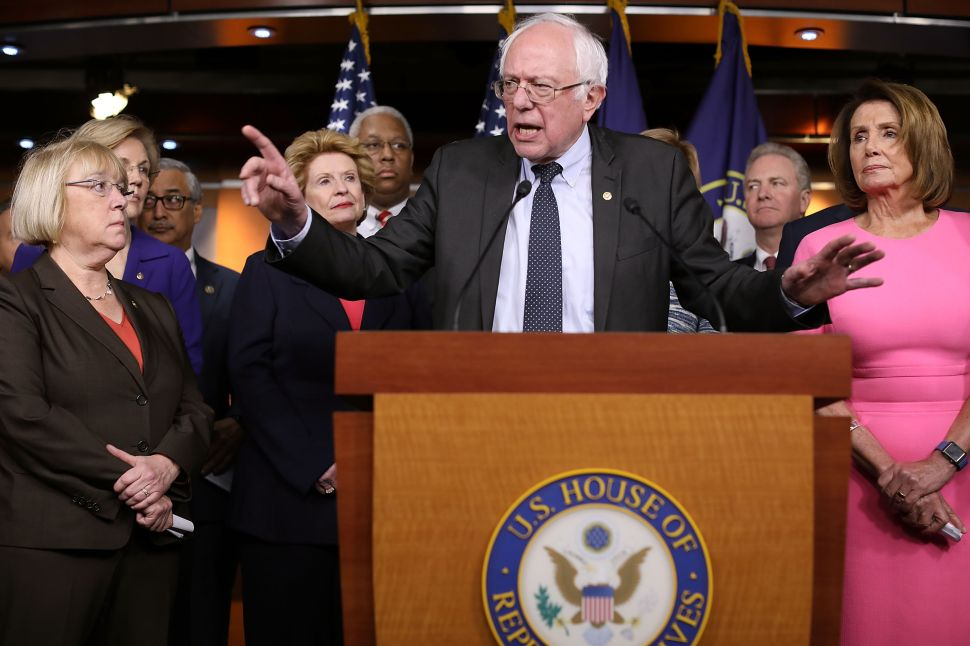 Sen. Bernie Sanders joins fellow Democrats from both the House and Senate at the U.S. Capitol January 4, 2017 in Washington, DC.