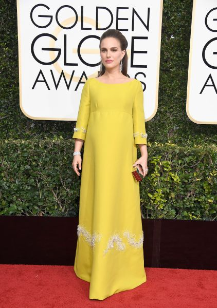 Natalie Portman in Prada at the Golden Globes.