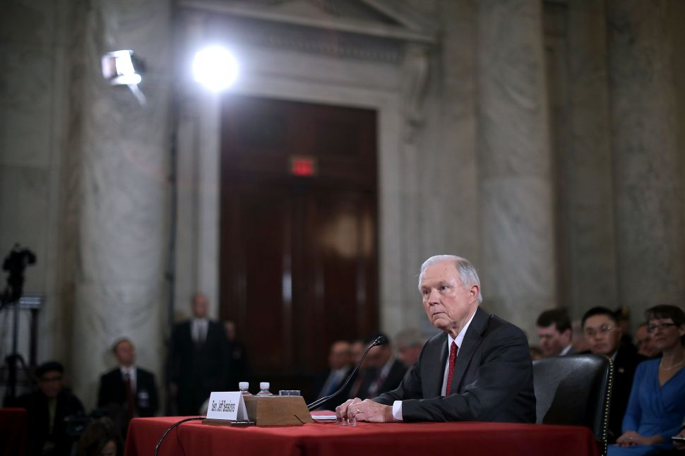 WASHINGTON, DC - JANUARY 10: Sen. Jeff Sessions (R-AL) testifies before the Senate Judiciary Committee during his confirmation hearing to be the U.S. Attorney General January 10, 2017 in Washington, DC. Sessions was one of the first members of Congress to endorse and support President-elect Donald Trump, who nominated him for Attorney General.