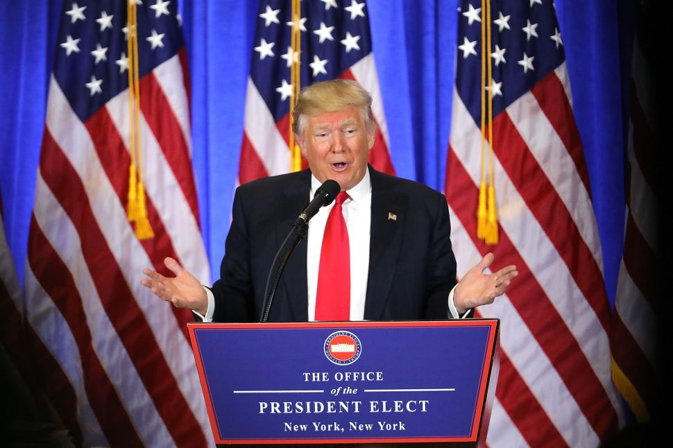President-elect Donald Trump speaks at a news conference at Trump Tower on January 11, 2017.