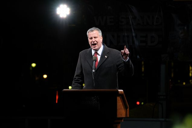 New York City mayor Bill de Blasio speaks onstage during the We Stand United NYC Rally outside Trump International Hotel on January 19, 2017 in New York City.