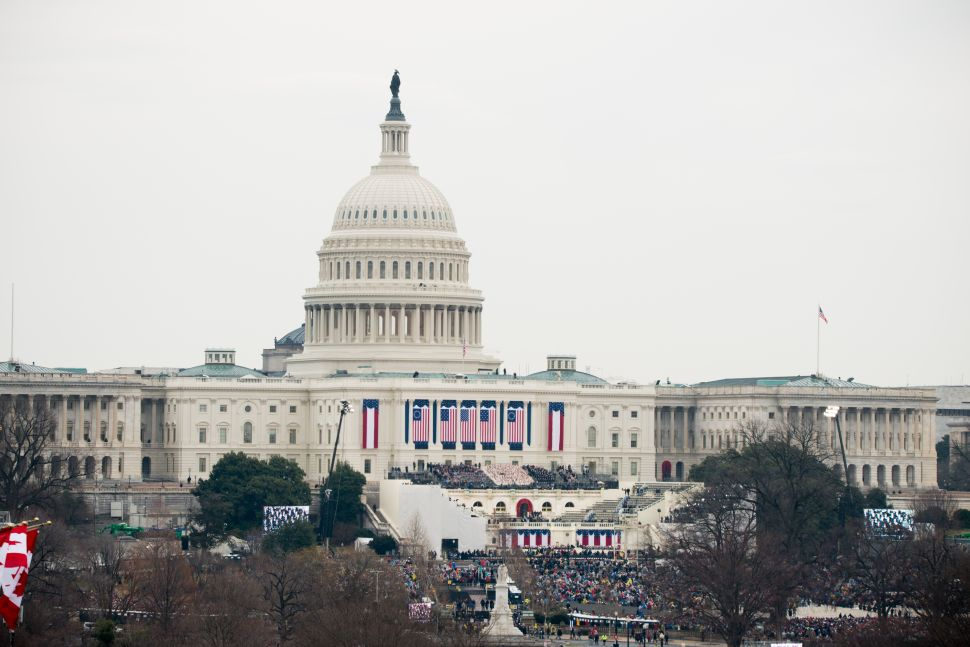 A view of the U.S. Capitol during the inauguration ceremony from The Newseum on January 20, 2017 in Washington, DC.