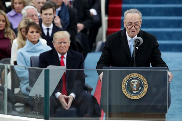 Senate Minority Leader Charles Schumer delivers remarks at the inauguration of President Donald Trump in January.