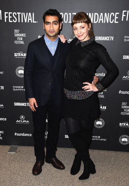 Actor Kumail Nanjiani and wife Emily Gordon attend the The Big Sick premiere at Sundance.