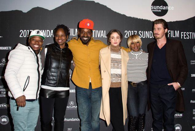 (L-R) Jason Mitchell, Dee Rees, Rob Morgan, Carey Mulligan, Mary J. Blige and Garrett Hedlund attend Mudbound.
