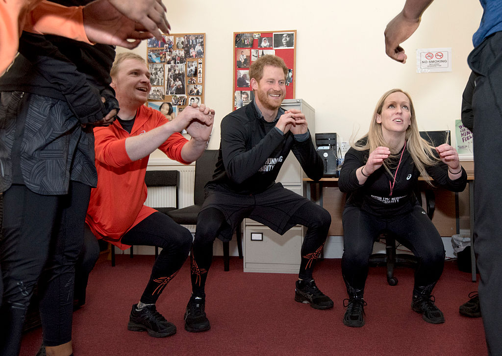 LONDON, UNITED KINGSDOM - JANUARY 26: Prince Harry warms-up with staff and users of The Running Charity, which is the UK's first running-orientated programme for homeless and vulnerable young people, on January 26, 2017 in Willesden, north west London, England. (Photo by Geoff Pugh-WPA Pool/Getty Images)