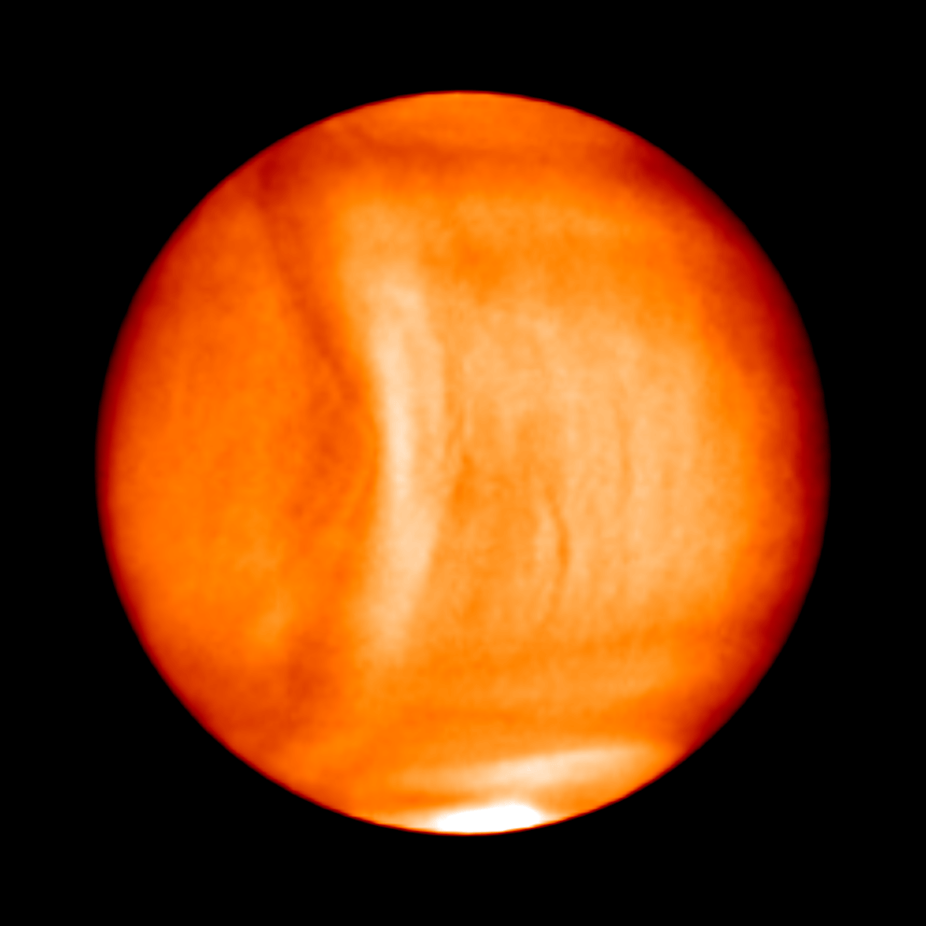 Strange shape in Venus' atmosphere.