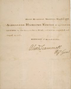 One of Alexander Hamilton's papers up for auction.