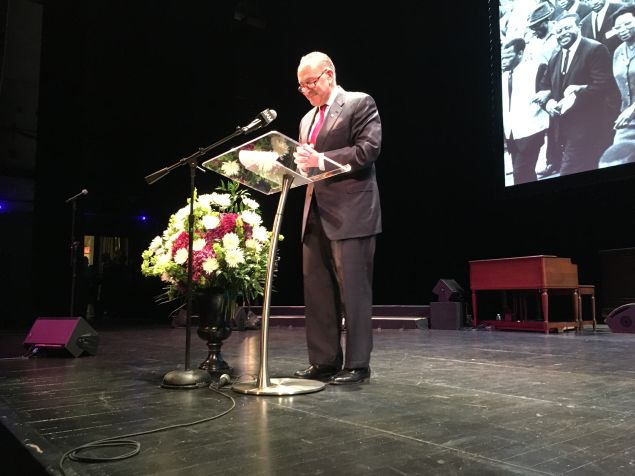 Senate Minority Leader Charles Schumer speaks at the Dr. Martin Luther King, Jr. celebration at the Brooklyn Academy of Music.