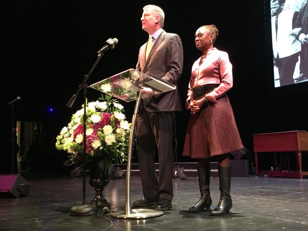Mayor Bill de Blasio and First Lady Chirlane McCray speak at a Dr. Martin Luther King celebration at the Brooklyn Academy of Music.
