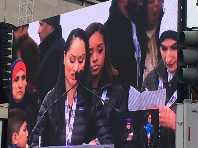 Women's March on Washington national co-chairwomen Carmen Perez, Tamika Mallory and Linda Sarsour.