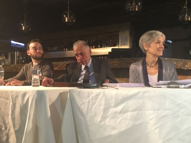 Nick Brana of the Bernie Sanders campaign, five-time presidential candidate Ralph Nader and Dr. Jill Stein, Green Party presidential candidate, speak on a panel at the Progressive Unity Summit.