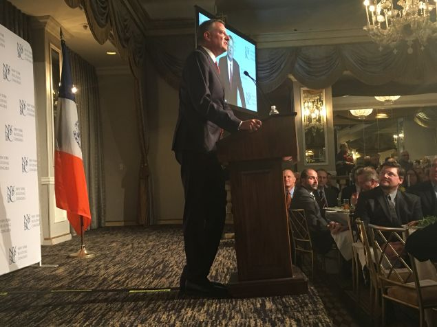Mayor Bill de Blasio speaks at the New York Building Congress' annual meeting at The Pierre Hotel.
