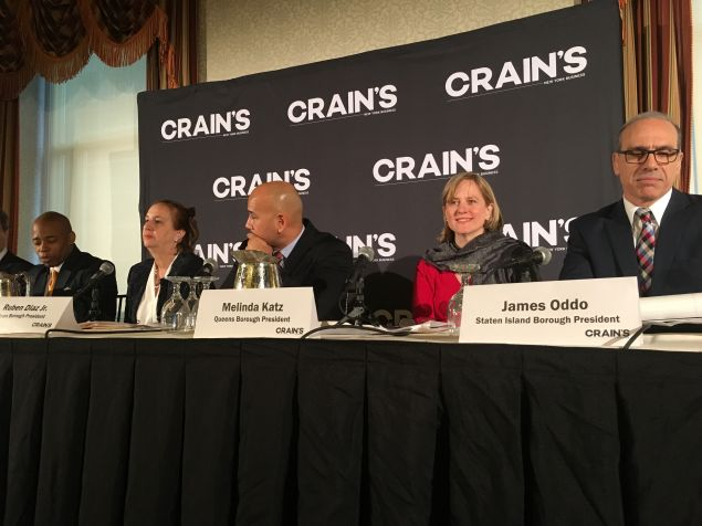 The five borough presidents speak at a business breakfast forum hosted by Crain's New York.