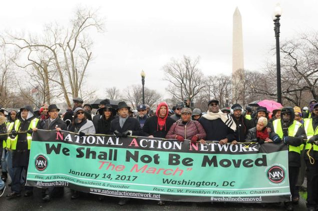 Rev. Al Sharpton leading a march and rally for civil rights in Washington, D.C.