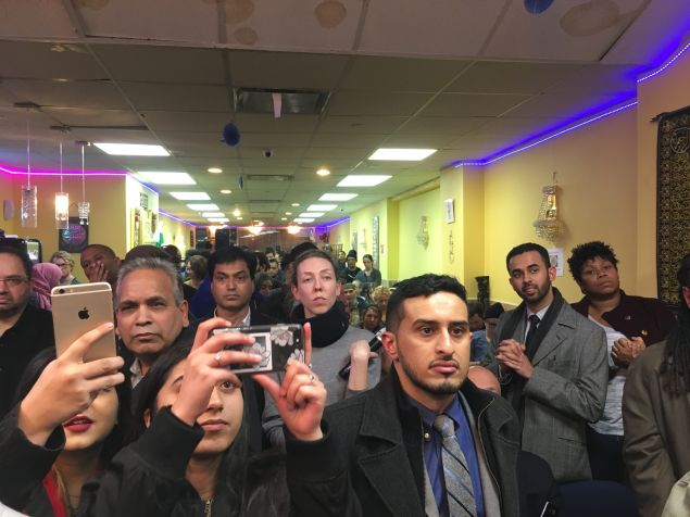 At least 500 people showed up to Brooklyn Congresswoman Yvette Clarke's emergency meeting OK President Trump's Muslim travel ban.