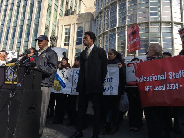 Brooklyn Borough President Eric Adams and CUNY student leaders speak out on behalf of a CUNY Graduate Center being denied reentry into the United States.