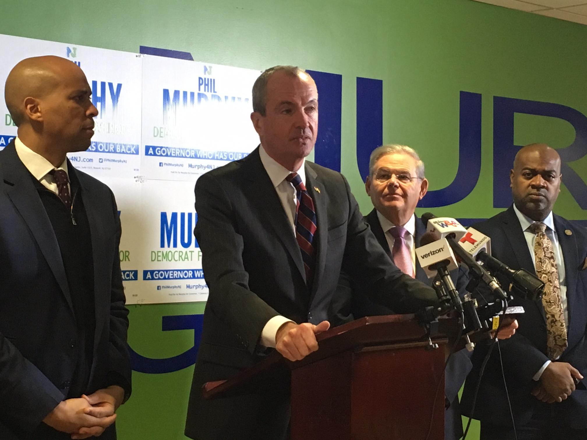 From left: Senator Cory Booker, gubernatorial candidate Phil Murphy, Sentor Bob Menendez and Newark Mayor Ras Baraka.