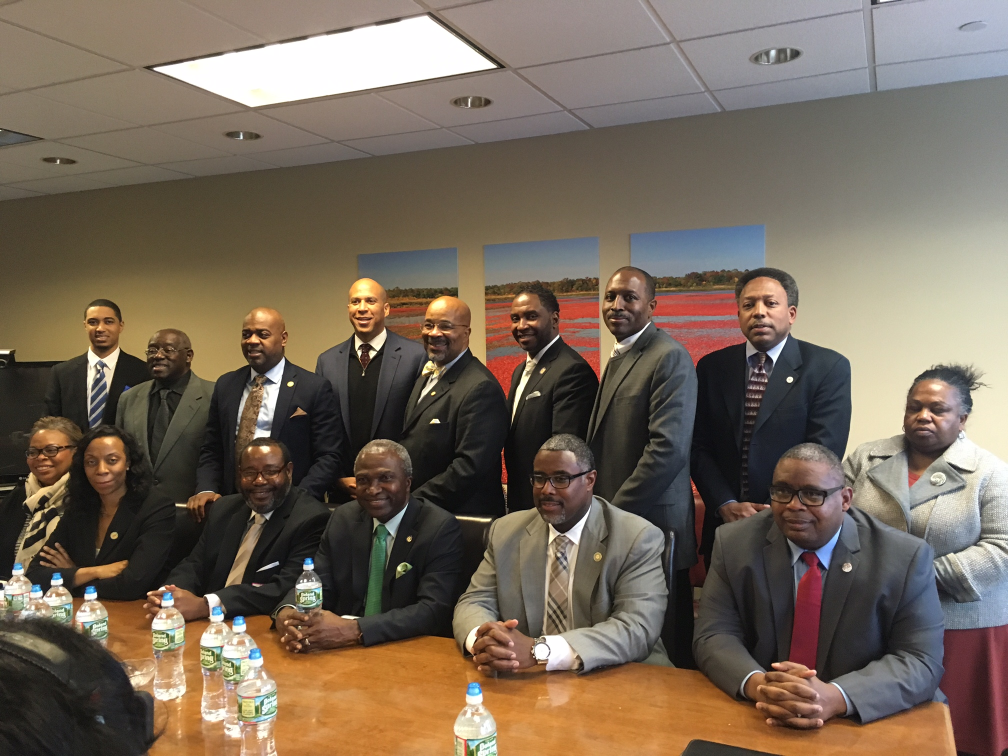 Booker held a discussion with members of the New Jersey Black Mayors Alliance for Social Justice.