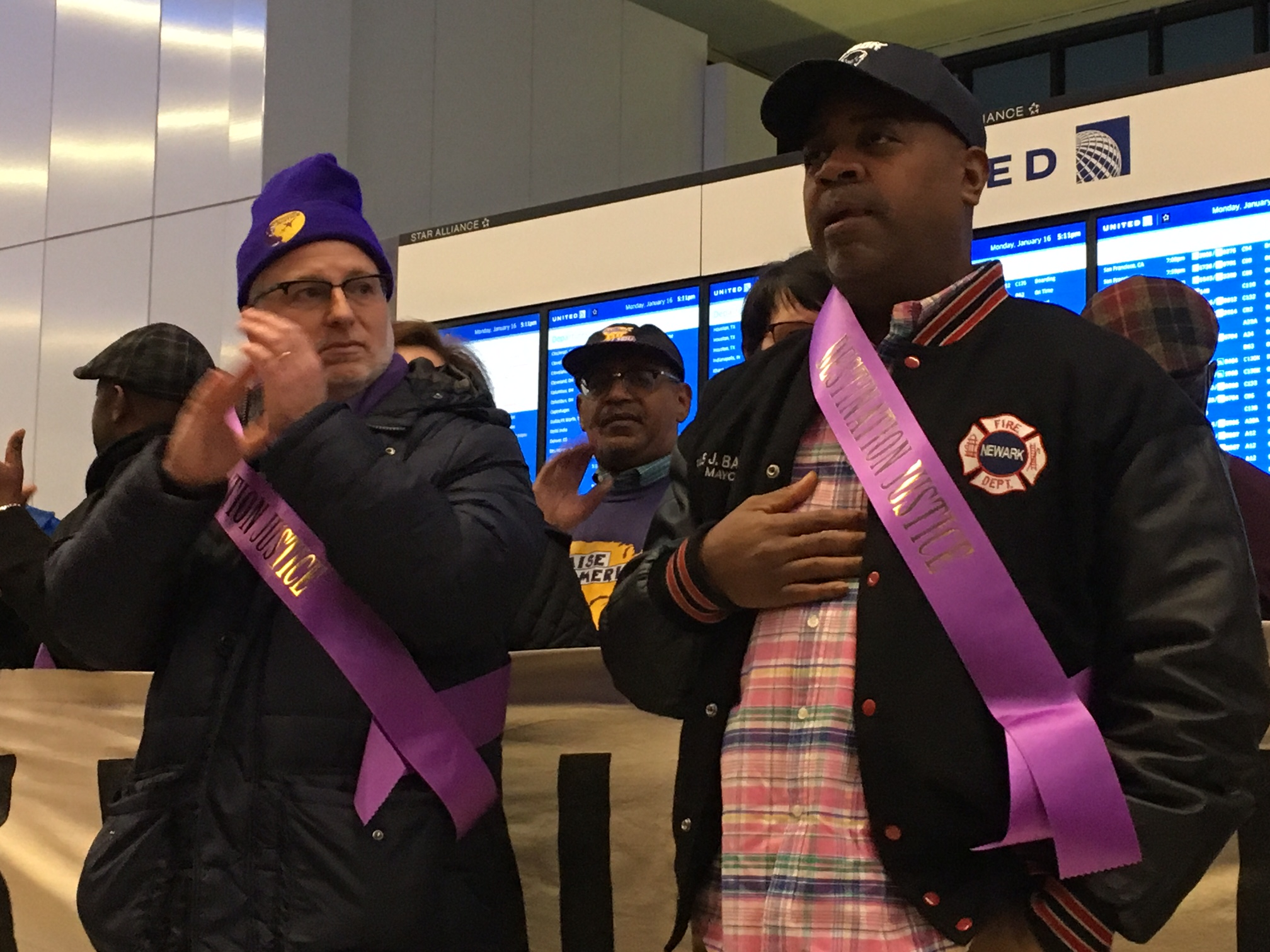 Baraka (right) with 32BJ SEIU NJ Director Kevin Brown
