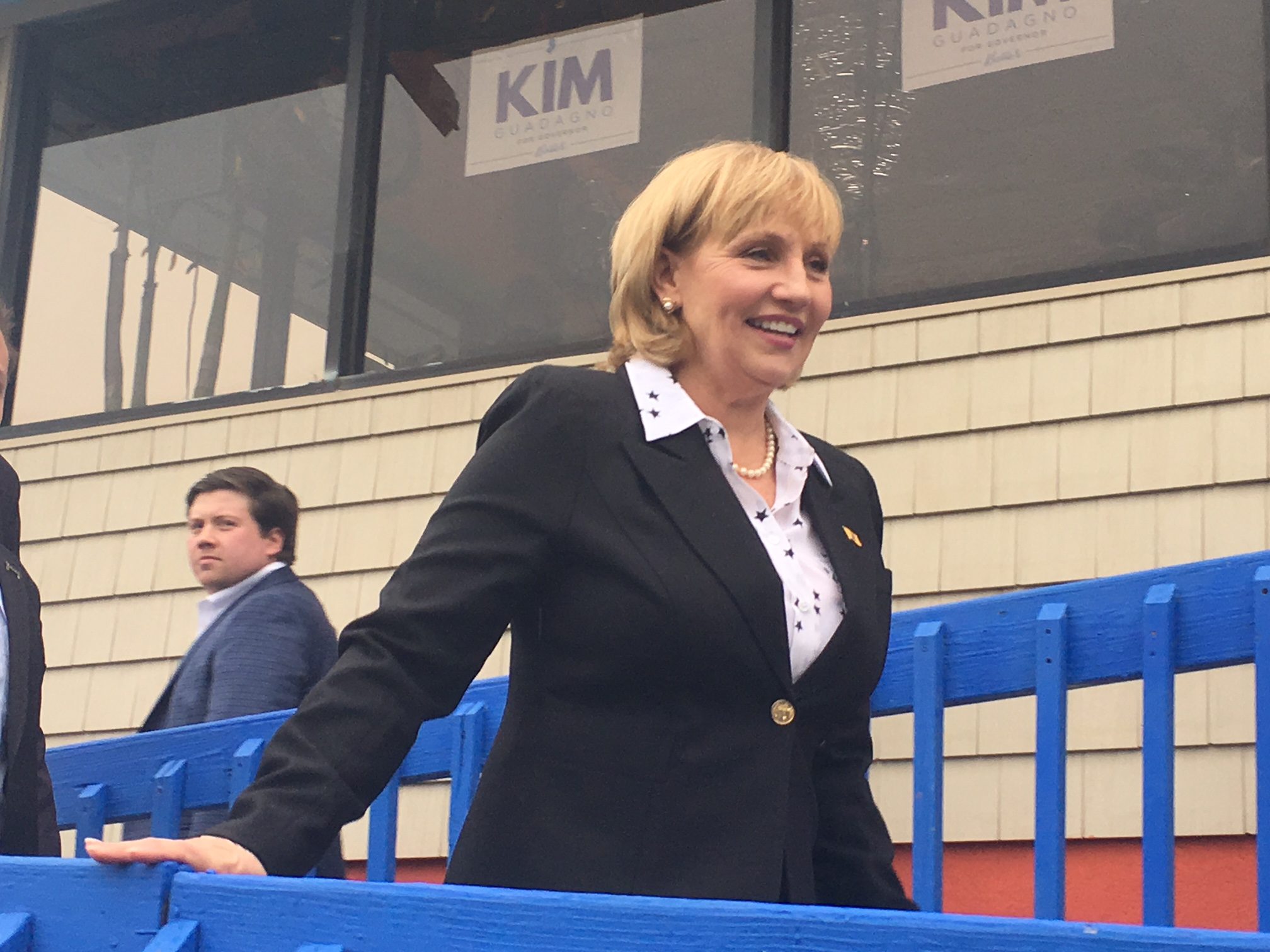 Guadagno announced her candidacy at La Playa restaurant in Keansburg.