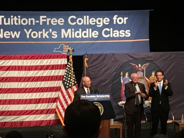Vermont Sen. Bernie Sanders and Gov. Andrew Cuomo announced a proposal to make college tuition-free for New York's middle class at LaGuardia Community College in Queens.