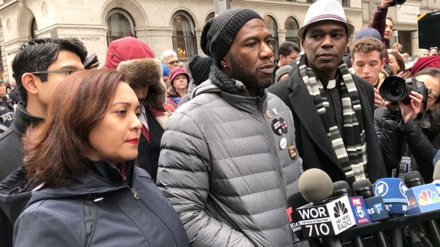 Councilman Jumaane Williams, center, leads the protest with State Senator Marisol Alcantata, left, and Councilman Carlos Menchaca.