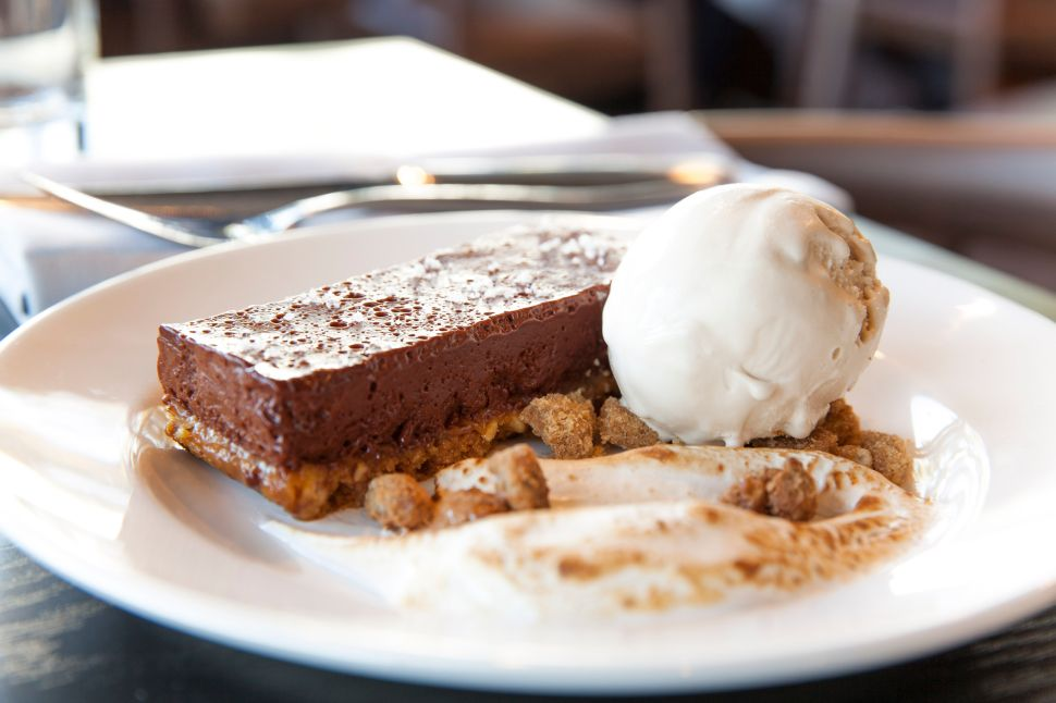 The chocolate bar with a pretzel crust at Margo's is salty-sweet goodness.