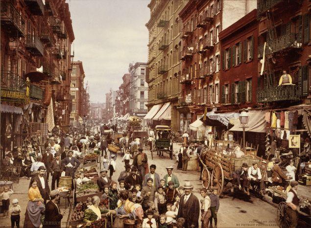 Mulberry Street, Manhattan, c. 1900.