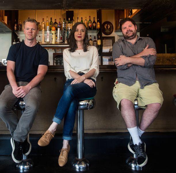 Programmers of The Nitehawk Cinema in Brooklyn (l to r): John Woods, Carolyn Coleman and Max Cavanaugh.