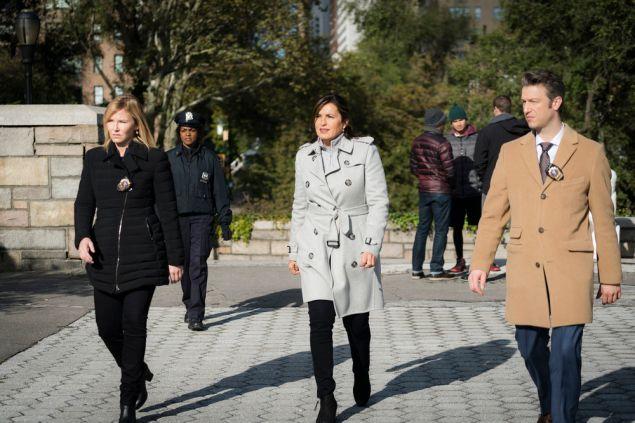 "Kelli Giddish as Detective Amanda Rollins, Mariska Hargitay as Lieutenant Olivia Benson and Peter Scanavino as Dominick ""Sonny"" Carisi."