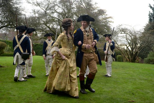 Annie Young as Peggy and Damian O'Hare as George Washington.
