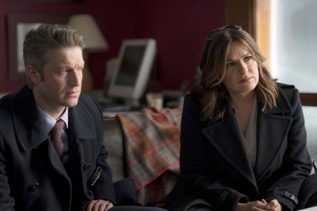 "Peter Scanavino as Dominick ""Sonny"" Carisi, and Mariska Hargitay as Lieutenant Olivia Benson."