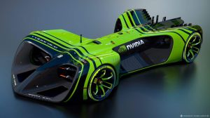 Another view of the Roborace design, with branding from Nvidia, which hopes to find a new market for its processors in these cars.