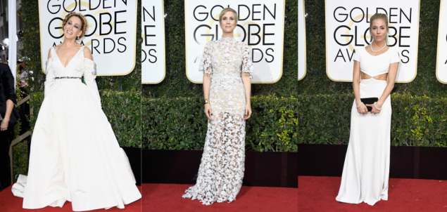 Sarah Jessica Parker in Vera Wang Collection, Kristen Wiig and Sienna Miller in Michael Kors Collection.