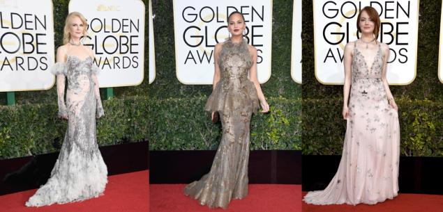 Nicole Kidman in Alexander McQueen, Chrissy Teigen in Marchesa, Emma Stone in Valentino.