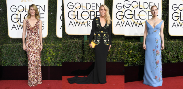 Laura Dern in Burberry, Busy Phillips, Jessica Chastain in Prada.
