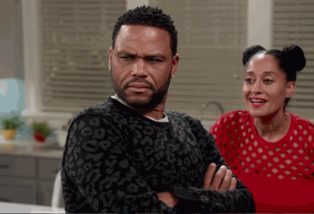 Anthony Anderson and Tracee Ellis Ross in Blackish.
