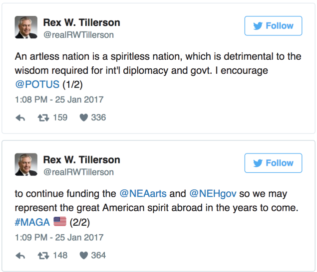 From Rex Tillerson's (currently suspended) Twitter account