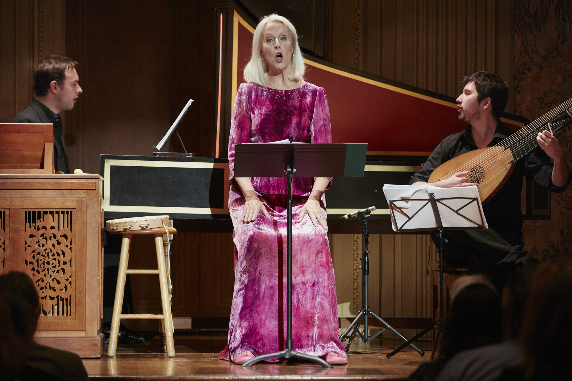 Anne Sophie von Otter, mezzo-soprano with Jonathan Cohen, harpsichord and Thomas Dunford, theorbo, in November 2015 performing a program of Purcell, Dowland, Strozzi, Merula, Monteverdi.
