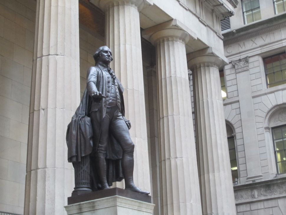 Statue of George Washington at Federal Hall.