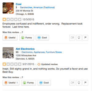 Brady takes two other businesses to task on Yelp.